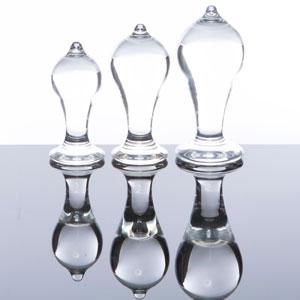 KIT TETTINE, 3 plugs anales transparentes ergonómicos