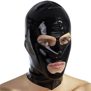 Máscara de látex con abertura en ojos, nariz y boca
