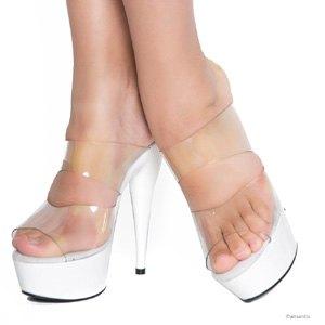 Sandalias con tacón y plataforma blanca