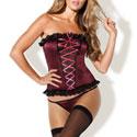 Conjunto de corset y tanga de raso burdeos y transparencias