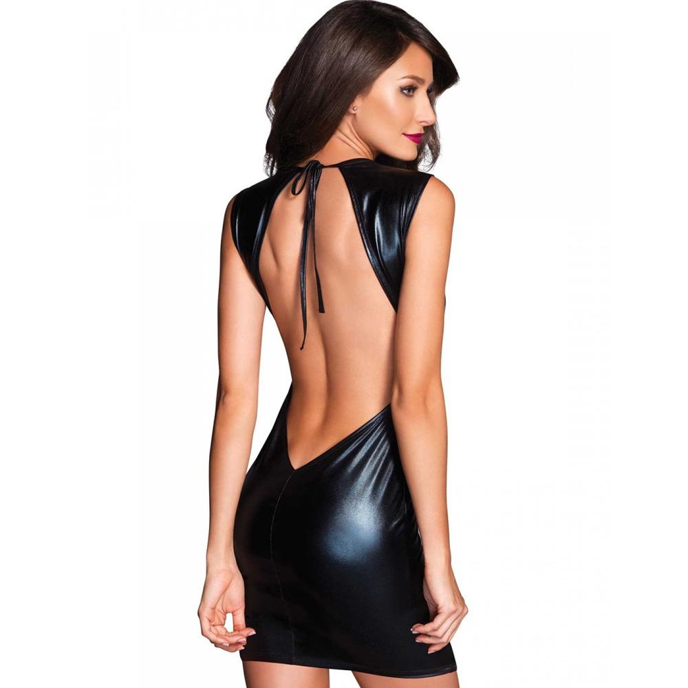 Mini vestido con escote de espalda Lamé