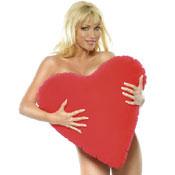 Coraz�n rojo inflable, para amarse con comodidad