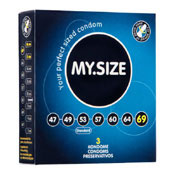 MY.SIZE, 3 condones alemanes en 7 tallas diferentes
