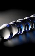 Dildo de cristal soplado con relieve de espiral redondeada